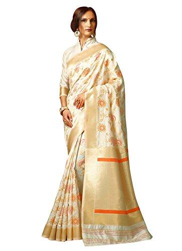 Designer Sarees Woven Work Cotton Silk Saree for women With Unstitched Blouse Piece (Cream2) (White Silk Saree)