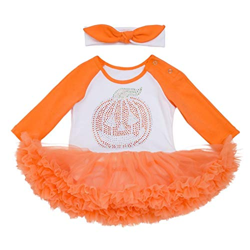 Infant Toddler Clothes Clearance Sale - vermers Baby Girls Halloween Pumpkin Bow Party Dress Mini Dresses(6M, -
