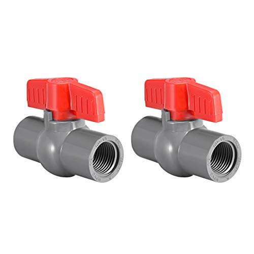 Pipe Red Pvc (uxcell PVC Ball Valve Water Supply Pipe Knob Tap Faucet Threaded Ends 1/2