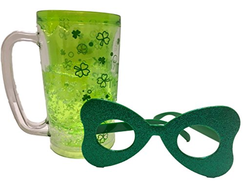 Cool Gear Light Green Drink Til Yer Green Freeze Me St Patricks Day Beer Stein Mug, Fun Shamrock Eye Glasses - Irish Party Supplies and Decoration - Eyeglasses Beer