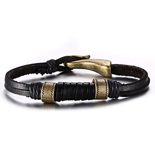 Bracelet Buckle Hook (MAFYU 21.5Cm Bracelet Men's Hand Alloy Leather Bracelet Hook Buckle Black)