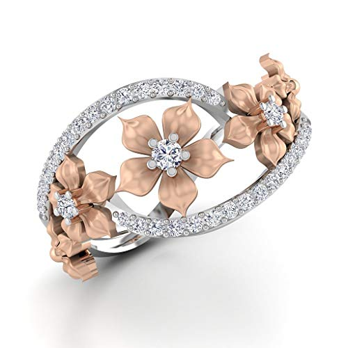 Sterling Silver Floral Ring - HOTSKULL 925 Sterling Silver Floral Ring Two Tone Vintage 18K Rose Gold Flowers Diamond Jewelry Christmas Proposal Gift Wedding Band Rings