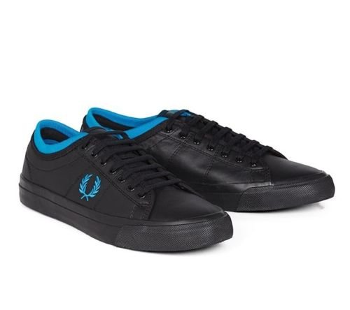 Fred Perry Kendrick Tipped Cuff Canvas Black White Mens Trainers Size 7 UK Tq4dJ8