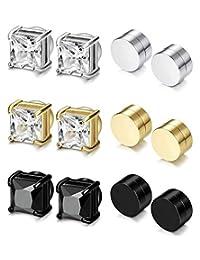 CASSIECA 6 Pairs Magnetic Stud Earring for Men Women Black CZ Magnet Non Pierced Clip On Earrings Set 6-8mm