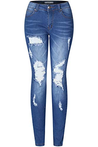 2LUV Women's Stretchy 5 Pocket Skinny Distressed Medium Denim Jeans Medium Wash 5 5 Pocket Distressed Denim Jeans