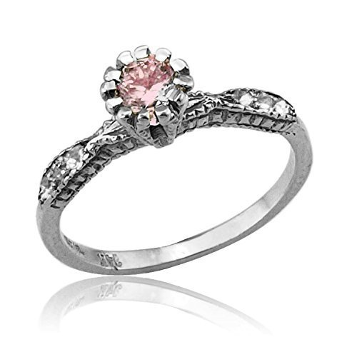 Handmade 14k White Gold .35 Ct Pink Tourmaline and .06 Diamond Engagement Ring Size 5.5 - 6.5