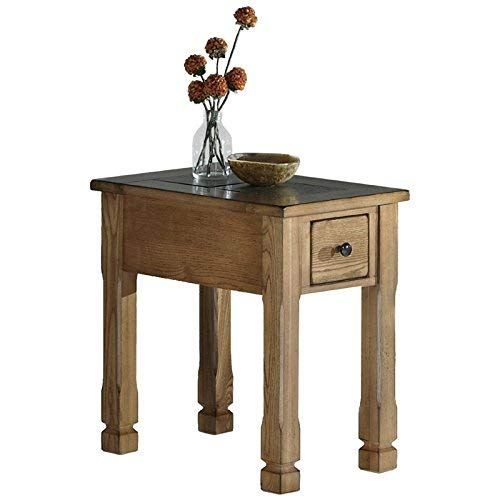 (Progressive Furniture Rustic Ridge Chair-Side Table, Light Oak/Slate)