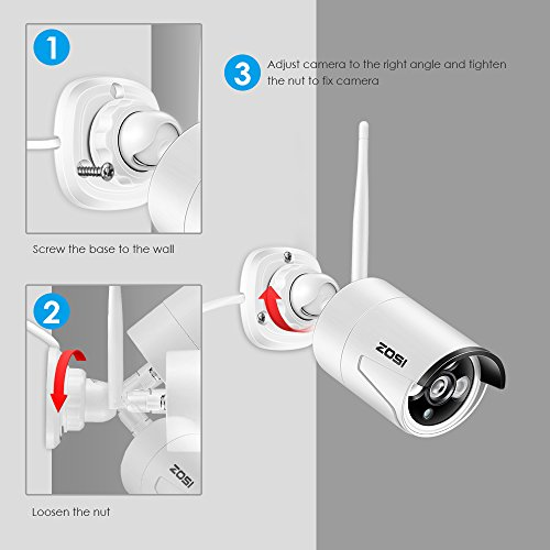 ZOSI Wireless Security Cameras System 1080P HD WiFi NVR and 4pcs 100ft Night Vision 1.0MP 720P Indoor Outdoor Wireless CCTV Cameras, AUTO-PAIR, Smartphone Remote Access (NO Hard Drive)