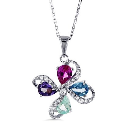 "Designer Sterling Silver Multi-Gemstone Pendant with 18"" Chain"