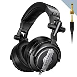 DJ Headphones, Sopownic Professional Studio Monitor & Mixing Headphones, Closed Back Over-Ear DJ Monitor with Stereo Bass Sound 50mm Neodymium Drivers for Monitoring Recording Keyboard Guitar Amp