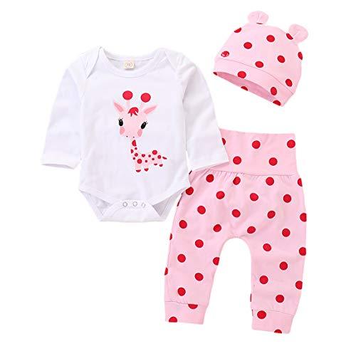 (3Pcs Newborn Infant Baby Boy Girl Giraffe Print Long Sleeve Romper Tops Polka Dot Pants Hat Set (0-3 Months))