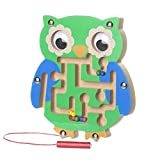 FALAIDUO Kids Magnetic Maze Toys Kids Wooden Game Toy Wooden Intellectual Jigsaw Board Educational Toys Gifts (B)