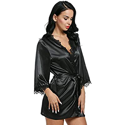 baqijian Robes Women Sleepwear Nightwear Plus Size Lace Satin Female Bathrobes Robe