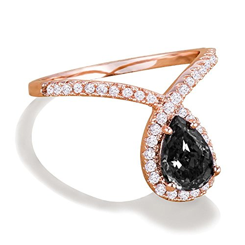 Samie Collection Art Nouveau Chevron-Shaped Band Ring, 1.25ctw Pear CZ in 18K Rose Gold & Rhodium Plating