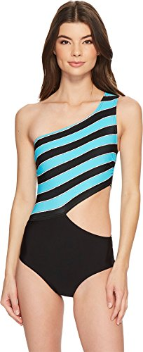 MICHAEL Michael Kors Women's Rope Rugby Stripe One Shoulder Cut Out One-Piece Swimsuit w/Zipper & Removable Soft Cups Turquoise (Soft Cup One Piece Swimsuit)