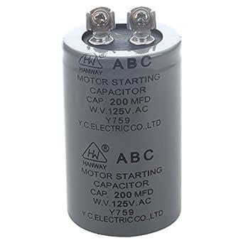 SODIAL(R) AC 125V 200uF 200MFD 2 Terminales Condensador de arranque del motor: Amazon.es: Amazon.es