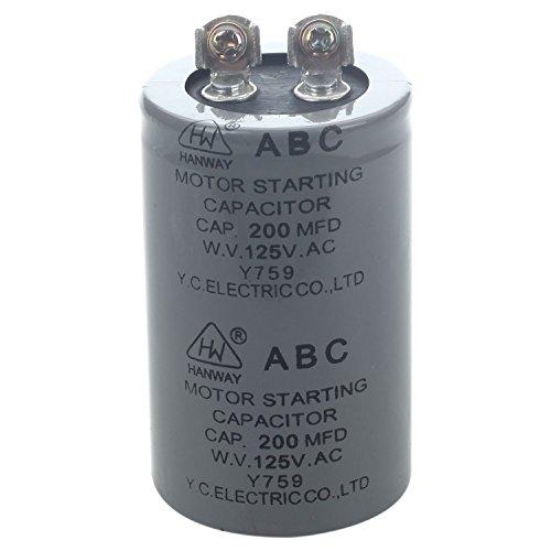 - SODIAL(R) AC 125V 200uF 200MFD 2 Terminals Motor Run Start Capacitor
