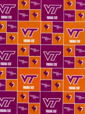 Cotton Virginia VA Tech Hokies University College Cotton Fabric Print - svt020s