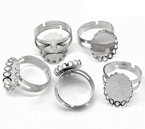 PEPPERLONELY Brand 20PC Silver Tone Copper Adjustable Rings Base (18.3mm US Size 8) Cabochon Frame Setting Tray (Fits ()