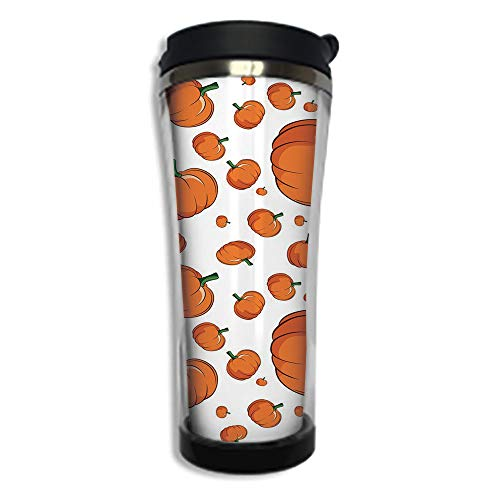 Travel Coffee Mug 3D Printed Portable Vacuum Cup,Insulated Tea Cup Water Bottle Tumblers for Drinking with Lid 8.45 OZ(250 ml)by,Harvest,Halloween Inspired Pattern Vivid Cartoon Style Plump Pumpkins V
