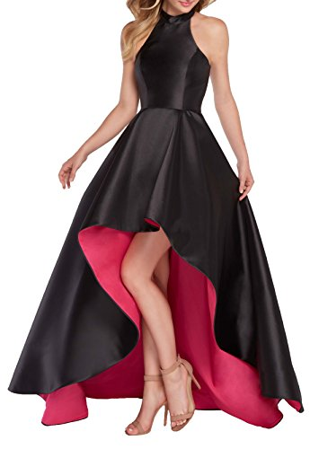 Formal Cocktail Prom Pageant Dress (Women's Halter High Low Satin Prom Dress Asymmetrical Formal Gown Lace Up Back Size 2 Black/Hot Pink)