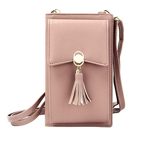 Kukoo Small Crossbody Bag Cell Phone Purse Wallet with Credit Card Slots for Women (Tassel-Pink)