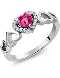 0.76 Ct Heart Shape Pink Created Sapphire 925 Sterling Silver Women's Ring (Available in size 5, 6, 7, 8, 9)