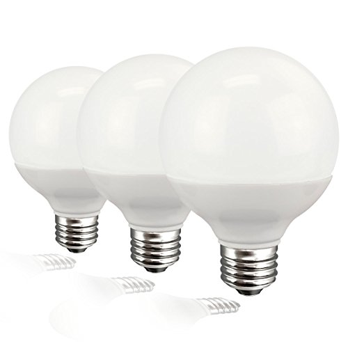 Flourescent Three Light (TCP RLG255W27KND3 Decorative Globe Vanity Light Bulbs, Round, G25, E26 Base, 40W Equivalent, Non-Dimmable, Perfect For Bathrooms, Soft White (3 Pack))