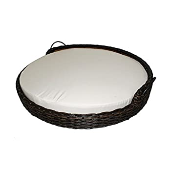 Image of Iconic Pet Rattan / Wicker Round Pet Bed with Handles in Varying Sizes, Dog /Cat Bed made of Woven, Pliable Rattan, Metal Frame Chaise, Indoor / Outdoor Lounge Furniture, Water Resistant Cushion Cover Pet Supplies