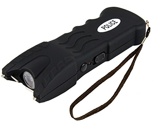 Police 916B - Max Voltage Heavy Duty Stun Gun With Safety Disable Pin and LED Flashlight - Rechargeable, Black