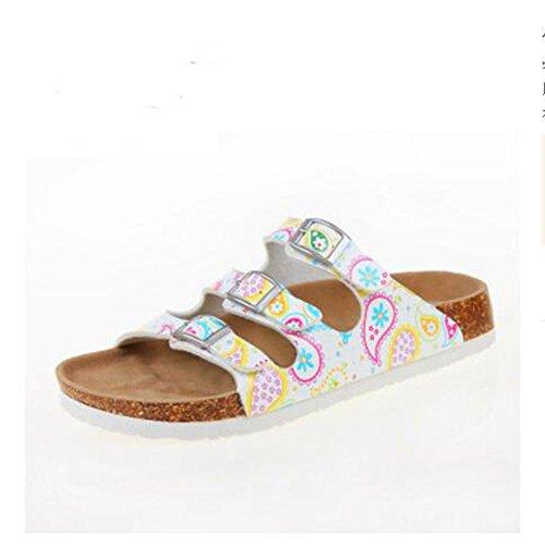 Footbed Cork Sandals Flat Flops 9 Strap YaMiFan Slide Women's Adjustable Soft Flip ERxwvqYv