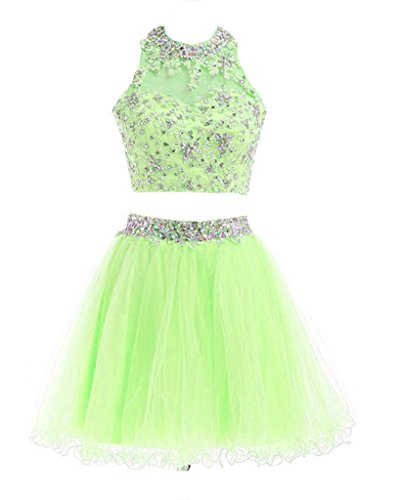 Dresses Short Lace Homecoming 2016 Prom Apple Women's Two Green Dresses Fanciest Pieces wA1nx