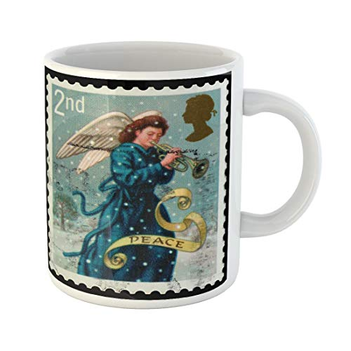 (Tarolo 11 Oz Mug Coffee Mug Ceramic Tea Cup Christmas United Kingdom Circa 2007 British Postage Stamp Showing Angel Playing Trumpet the Message Peace Vintage Large C-handle Family and Office Gift)