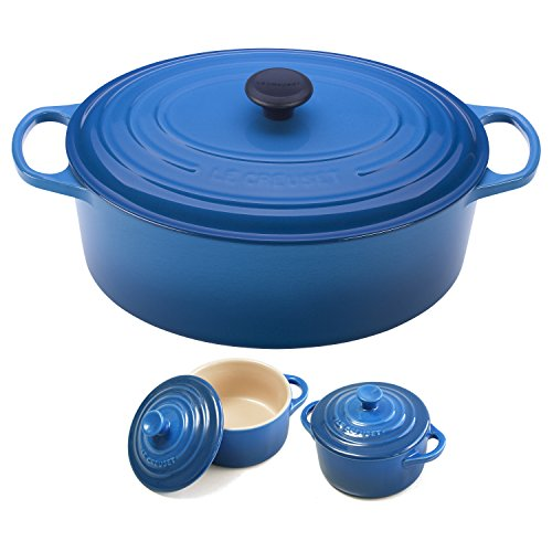 Le Creuset Signature Marseille Blue Enameled Cast Iron 9.5 Quart Oval French Oven with 2 Free Stoneware Cocottes