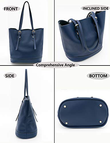 Capacity Bucket Handbag Satchels Genuine Bags Tote Bag Women's Shoulder Leather Blue Purse Hobo Middle gxBPqqHw