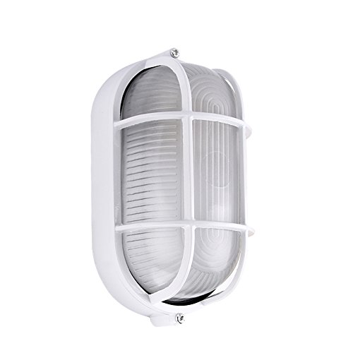 Bulkhead Wall Fixture - Premium Safety Grid Bulkhead Wall/Ceiling Light,Suitable for Outdoor/Sauna Room/Storehouse use - Oval - 8 inches - White