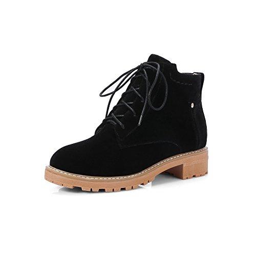 AdeeSu Womens Chunky Heels Bandage Platform VelvetLining Microsuede Boots SXC02638 Black mhNXNevqO