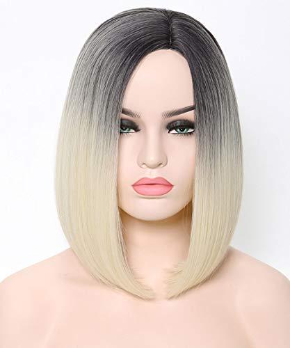 Bob Shoulder Length - Benegem 2 Tone Blonde Bob Wig Slight Side Part Shoulder Length 13.5 inches Synthetic Party Wigs