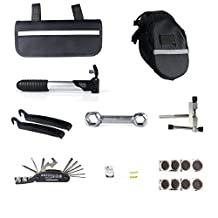 SCS ETC Multi Function Bike Tire Repair Tools Kit Set and Bicycle Seat Saddle Bag, Portable Bicycle Cycling Chain Tool Repair Kit