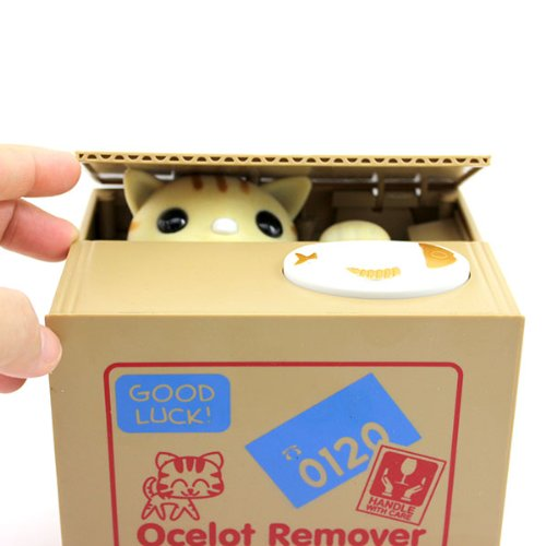 Huayang Cute Animal Style Stealing Coins Cents Penny Buck Saving Money Box Pot Case Piggy Bank Cat
