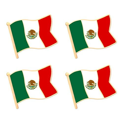 ALEY Mexico Mexican Flag Lapel Pin Decorations (4 Pack)