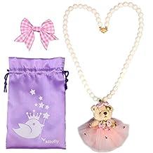 kilofly Princess Party Favor Jewelry, Teddy Bear, Necklace & Hair Clip Set