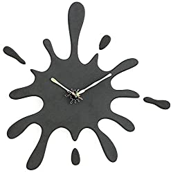 Stephanie Imports Modern Minimalist Black Paint Ink Splash Silent Wall Clock