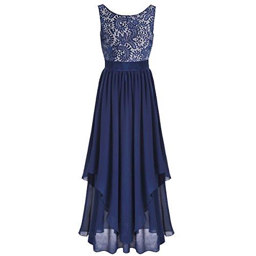 [YiZYiF Women's Elegant Sleeveless V-back Black Lace Bridesmaid Maxi Long Dress Navy Blue Medium] (Floral Long Skirt Evening Gown)