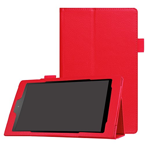 MCUK Case for All-New Amazon Fire HD 8 (2016 6th Generation), Slim Flip Premium Leather Standing Cover Auto Wake / Sleep for Fire HD 8 Tablet (2016 Release, 6th Generation) (Red) (Valve Wallet Card compare prices)