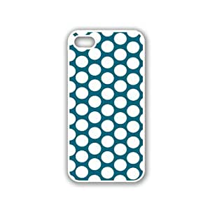 Polka Dots Pattern - Teal - Protective Designer WHITE Case - Fits Apple iPhone 5 / 5S