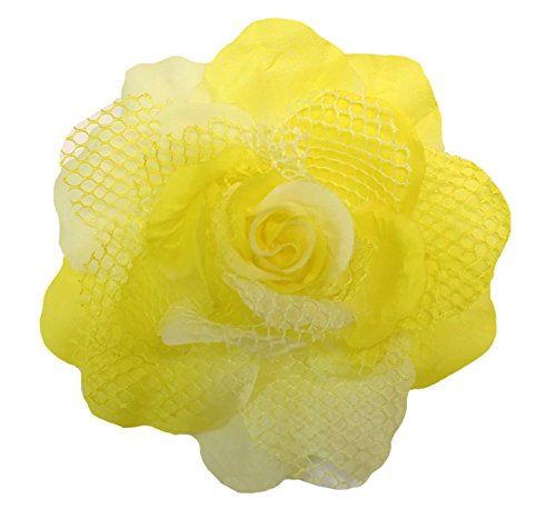 Sequin Flowers Brooch (WD2U Girls Extra Large Mesh Rose Hair Bow Alligator Clip Brooch Yellow 1171)