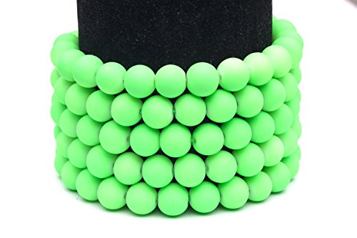 Frosted glass beads neon green rubber-tone beads 8mm round Sold per pkg of 3x32inch (336 BEADS)