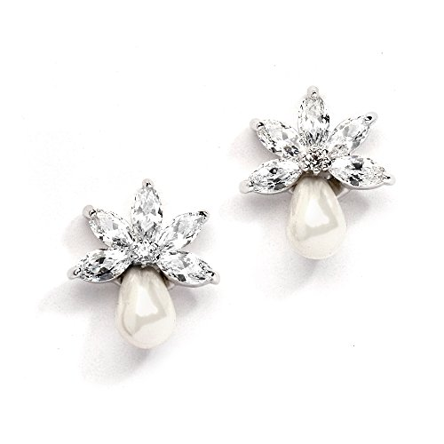 Mariell Dainty Freshwater Pearl and CZ Cluster Bridal Wedding Earrings - Great for Bridesmaid & Prom - Bridal Earrings Pearl Freshwater
