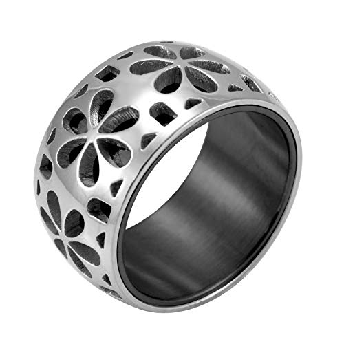 555Jewelry Edgy Stainless Steel Engraved Daisies Hawaiian Plumeria Flower Full Bloom Blooming Memorable Unisex Wedding Engagement Band Fashion Jewelry Accessory Ring, Black Size 9